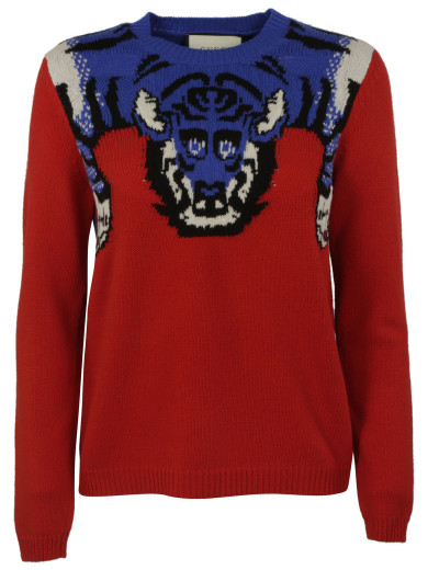 GUCCI Women'S Tiger Knit Crew Neck Sweater In Red And Blue at Italist.com