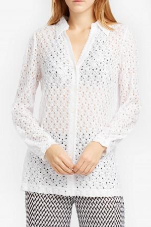 MISSONI Knit Long-Sleeve Blouse, White