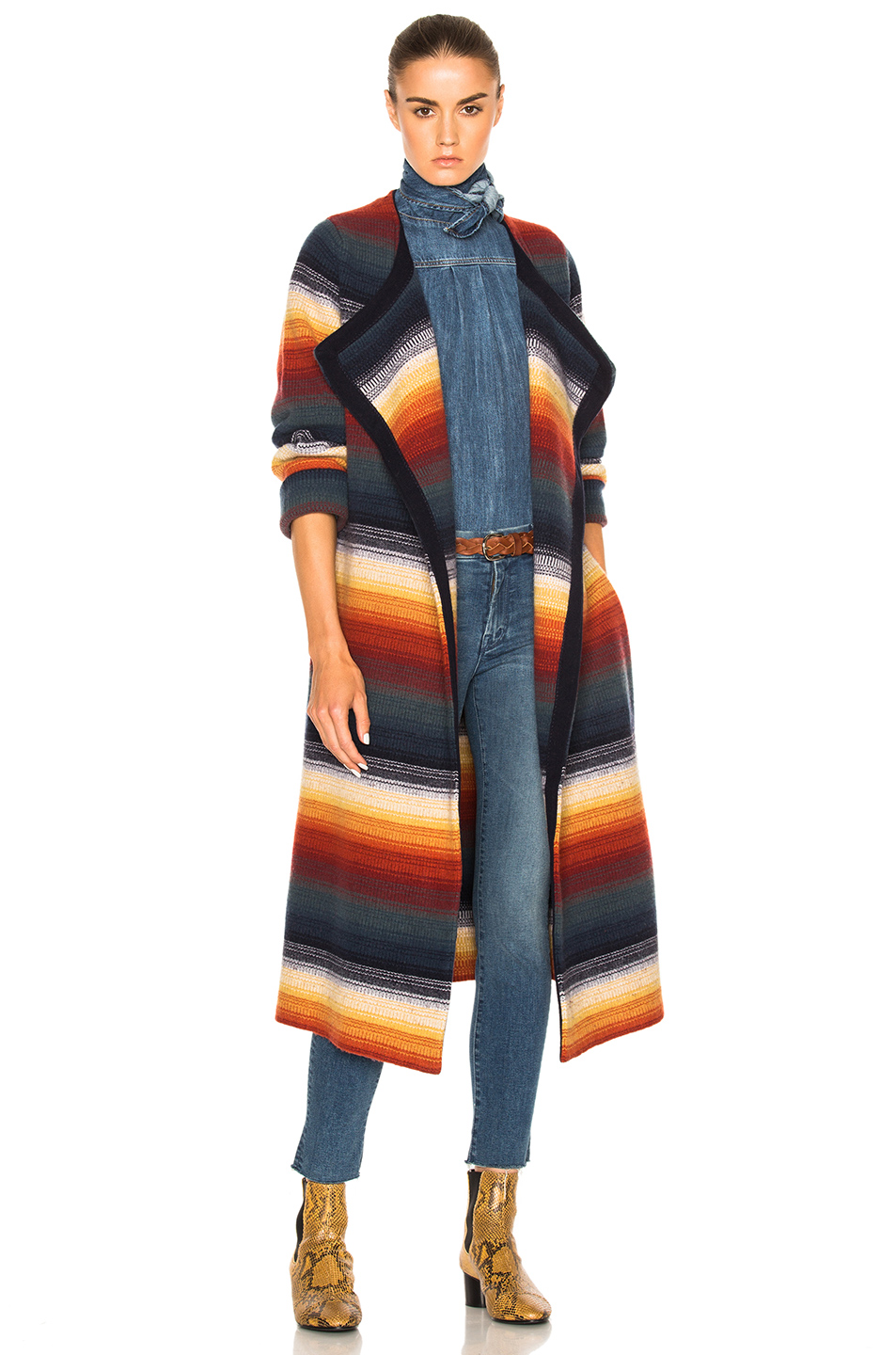 CHLOÉ Belted Stripe Cashmere Blend Coat at FORWARD