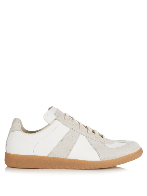 MAISON MARTIN MARGIELA Replica Low-Top Leather And Suede Trainers in White