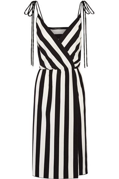 MARC JACOBS Striped Crepe Slip Dress, Black/White at NET-A-PORTER