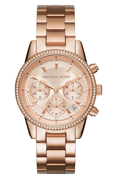 MICHAEL MICHAEL KORS Ritz Chronograph Bracelet Watch, 37Mm in Rose Gold