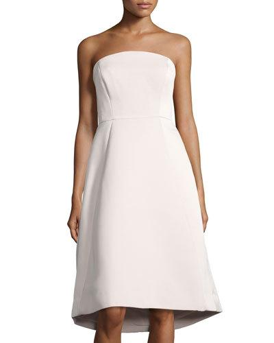 HALSTON HERITAGE Strapless Structured Cocktail Dress, Beige at LastCall.com