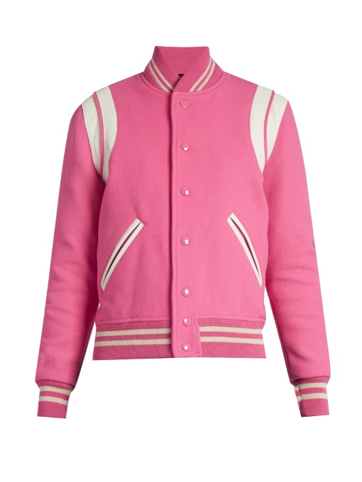 SAINT LAURENT Teddy Jacket In Rose Virgin Wool And Polyamide And White Leather in Piek