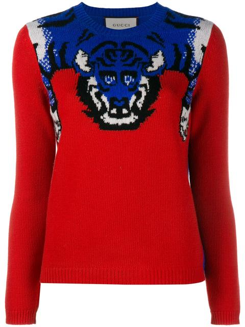 GUCCI Women'S Tiger Knit Crew Neck Sweater In Red And Blue at Farfetch