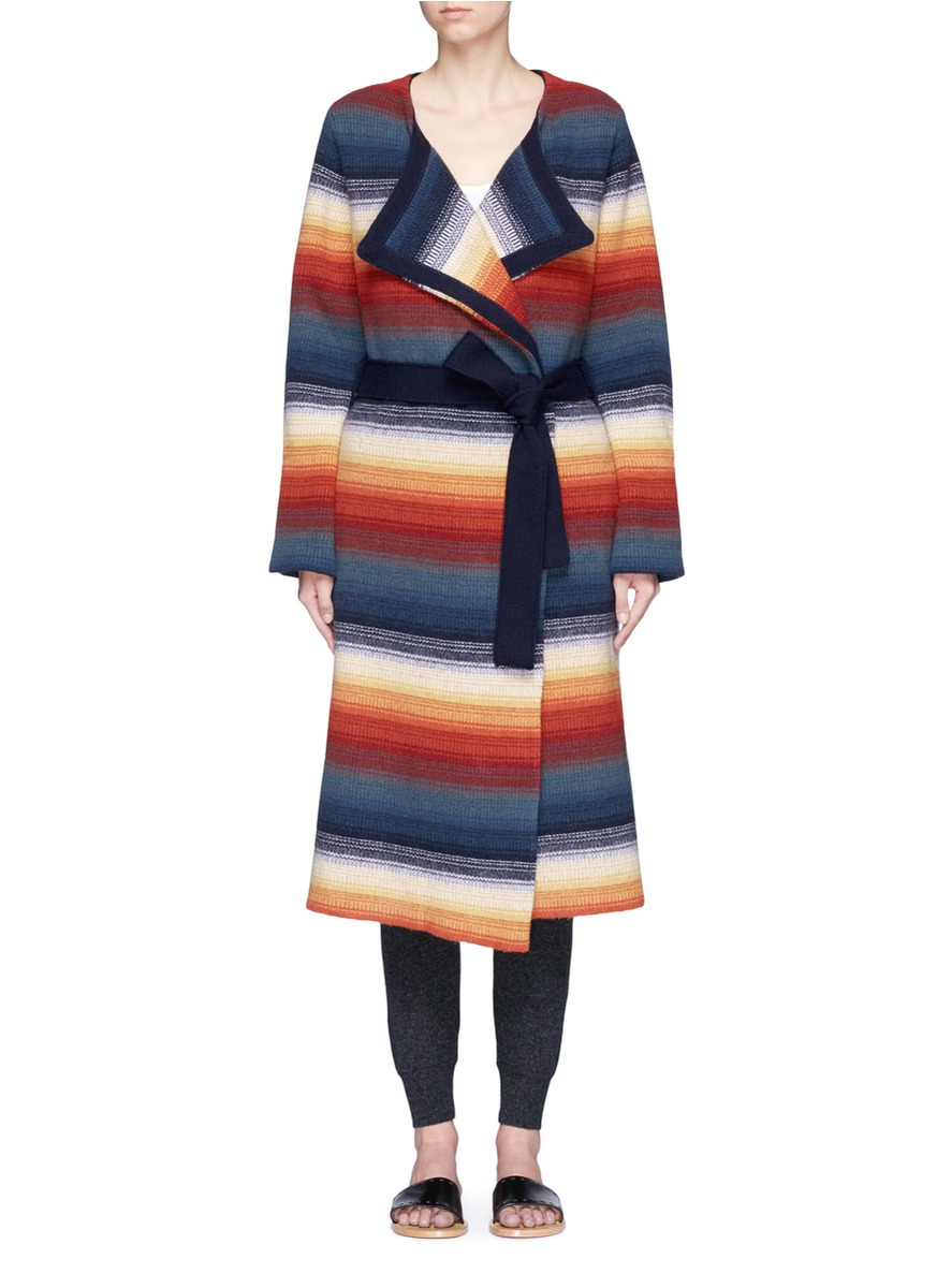 CHLOÉ Belted Stripe Cashmere Blend Coat at Lane Crawford