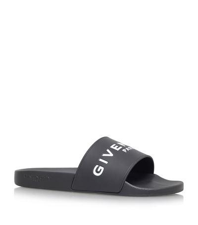 GIVENCHY 20Mm Logo Embossed Rubber Slide Sandals, Black at Harrods