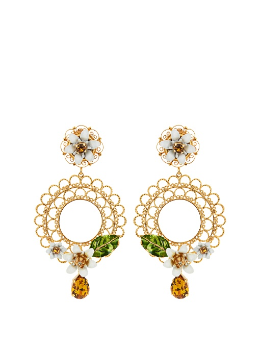 DOLCE & GABBANA Gold-Tone, Swarovski Crystal And Enamel Clip Earrings at MATCHESFASHION.COM