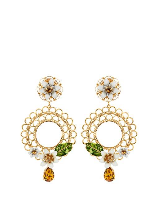 DOLCE & GABBANA Gold-Tone, Swarovski Crystal And Enamel Clip Earrings