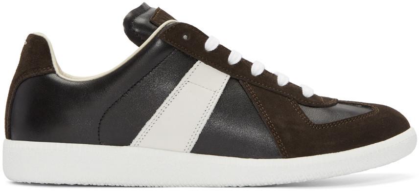 MAISON MARTIN MARGIELA Black & White Replica Sneakers in Brown