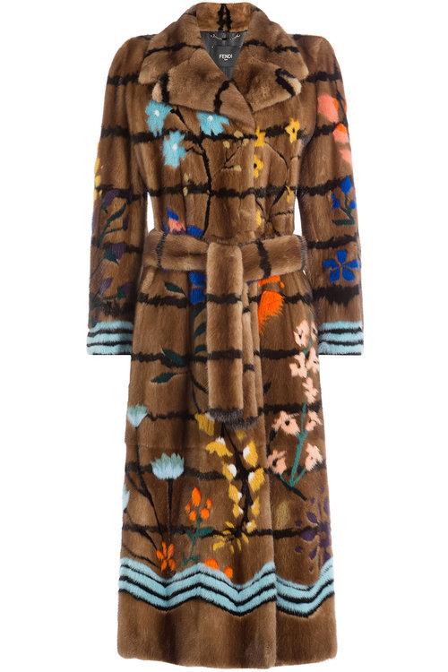 FENDI Floral Intarsia Mink Fur Coat, Brown/Multi at STYLEBOP.com