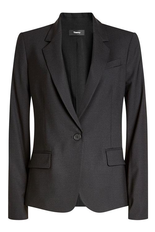 THEORY 'Wylla' Button Lapel Virgin Wool Blazer at STYLEBOP.com