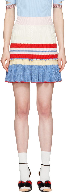 ALEXANDER MCQUEEN Ruffled-Hem Striped Wool And Silk-Blend Skirt at SSENSE