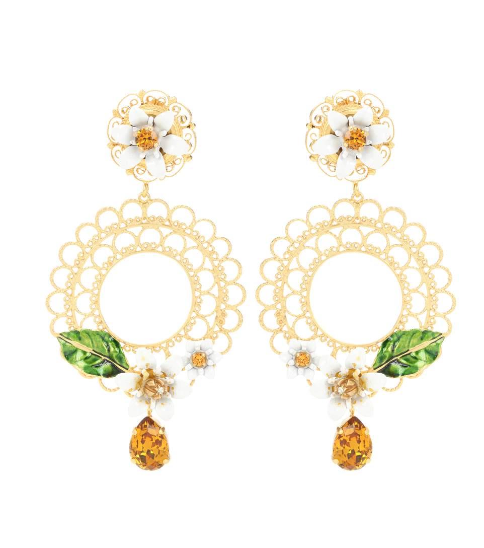 DOLCE & GABBANA Gold-Tone, Swarovski Crystal And Enamel Clip Earrings at mytheresa.com