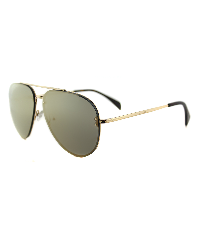 CELINE Mirror Pilot Metal Sunglasses' in Gold Brown