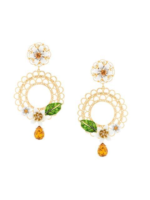 DOLCE & GABBANA Gold-Tone, Swarovski Crystal And Enamel Clip Earrings at Farfetch