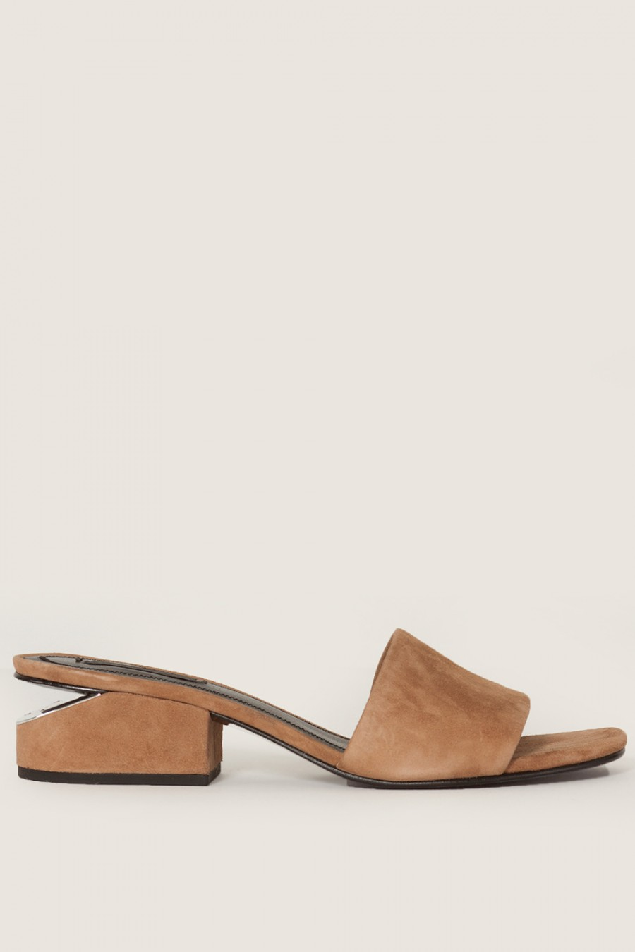 ALEXANDER WANG Lou Suede Sandal With Rhodium - Camel at MADISON LOS ANGELES