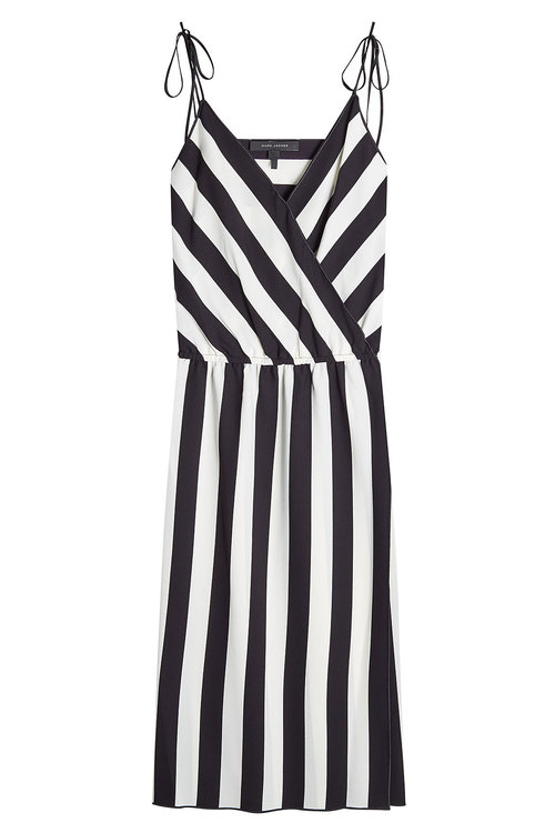 MARC JACOBS Striped Crepe Slip Dress, Black/White at STYLEBOP.com