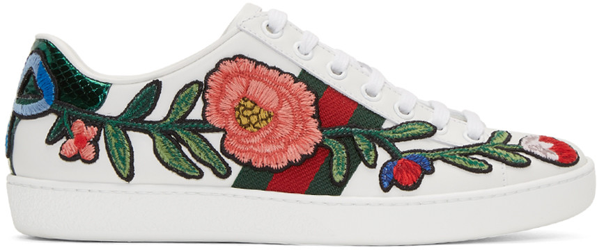 GUCCI New Ace Floral-Embroidered Low-Top Sneaker, White/Multi, Multi Colors at SSENSE