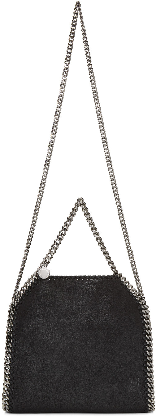 STELLA MCCARTNEY Black Faux Suede 'Falabella' Braided Chain Detail Mini Shoulder Bag at SSENSE