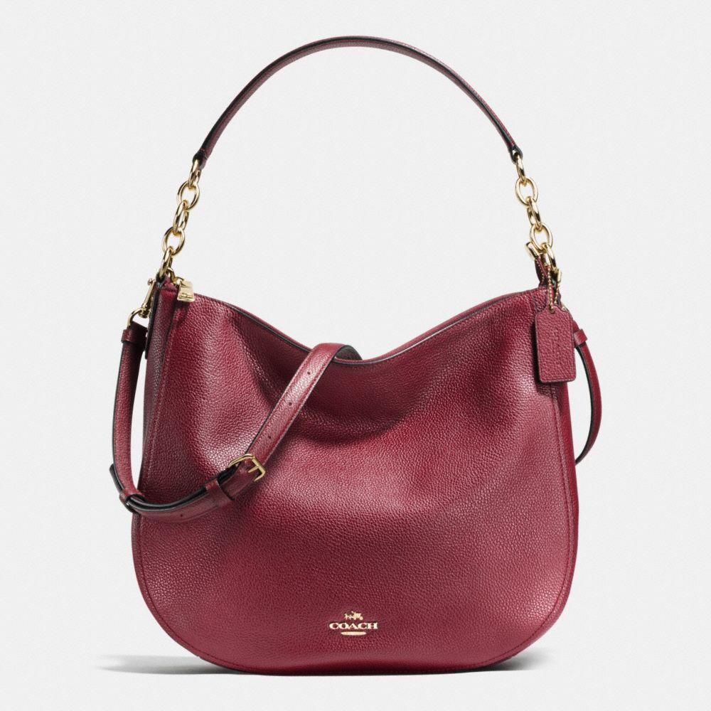 COACH Chelsea Hobo 32 In Pebble Leather in : Light Gold/Burgundy