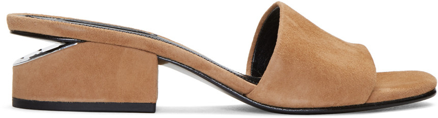 ALEXANDER WANG Lou Suede Sandal With Rhodium - Camel at SSENSE