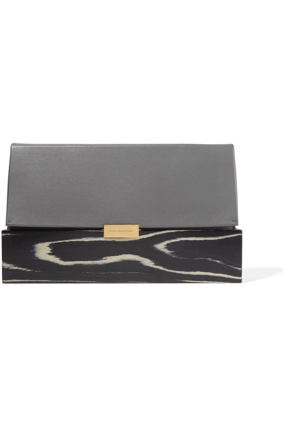 STELLA MCCARTNEY Faux Leather And Printed Wood Clutch