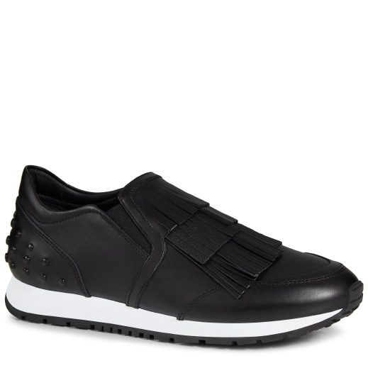 TOD'S 20Mm Fringed Leather Slip-On Sneakers, Black at TOD'S