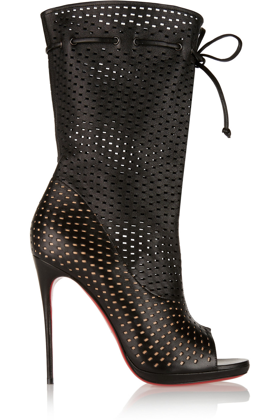 CHRISTIAN LOUBOUTIN Black Perforated Leather 'Jennifer 120' Open-Toe Boots' at THE OUTNET.COM