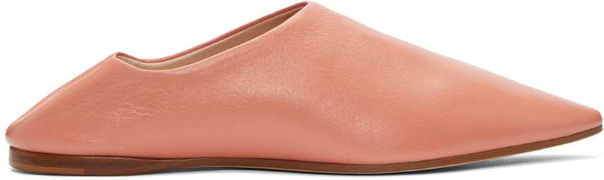 ACNE STUDIOS Amina Backless Leather Slipper Shoes at SSENSE