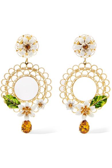 DOLCE & GABBANA Gold-Tone, Swarovski Crystal And Enamel Clip Earrings at NET-A-PORTER