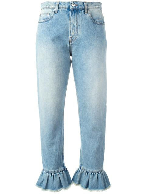 MSGM Distressed Ruffle-Trimmed High-Rise Straight-Leg Jeans at Farfetch