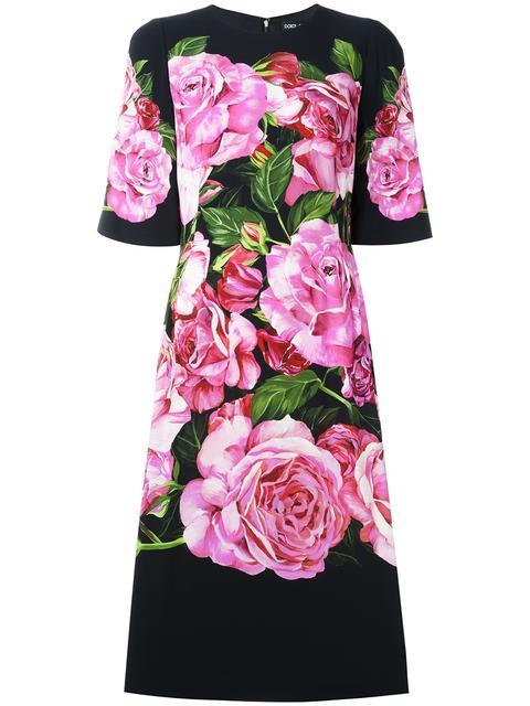 DOLCE & GABBANA Rose Print Cady Dress