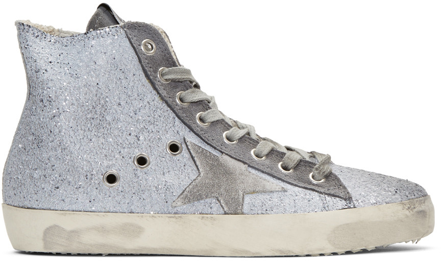 GOLDEN GOOSE Francy Distressed Glittered Suede High-Top Sneakers at SSENSE