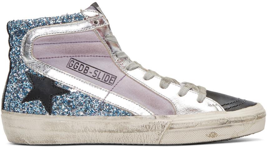 GOLDEN GOOSE Multicolor Slide High-Top Sneakers at SSENSE
