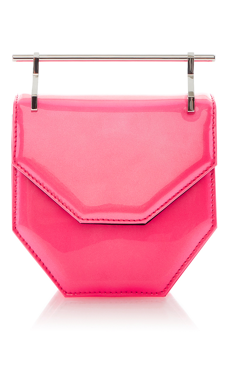 M2MALLETIER Amor Fati Neon Pink Patent Leather Mini Shoulder Bag