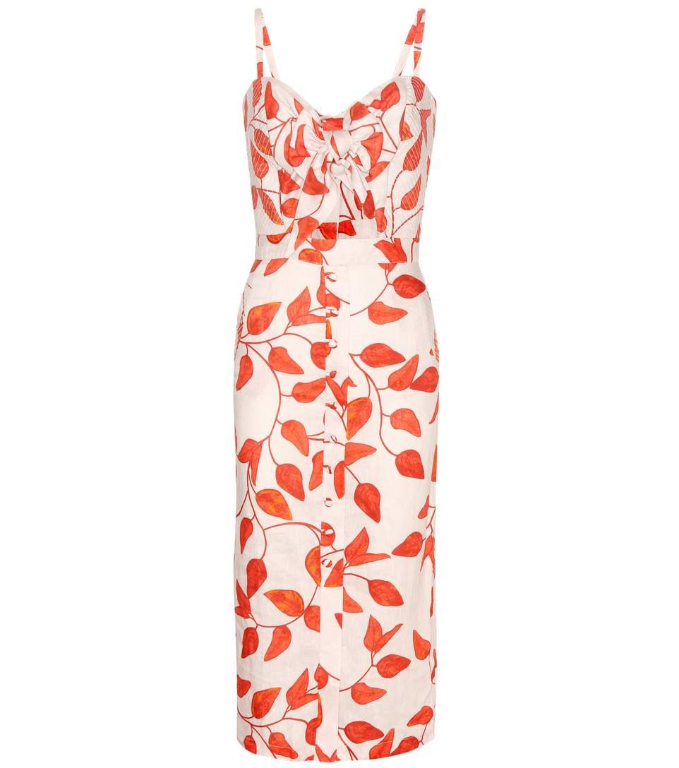 JOHANNA ORTIZ Leaf-Print Linen Tie-Front Cami Dress, Red/White at mytheresa.com