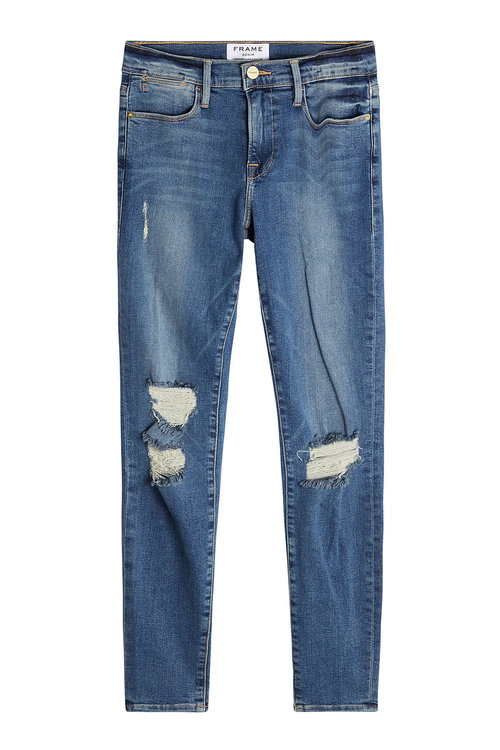 FRAME Distressed High-Rise Skinny Jeans in Blue