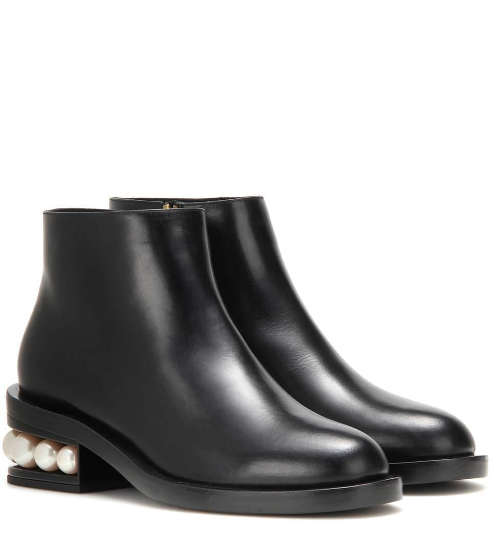 NICHOLAS KIRKWOOD 'Casati' Faux Pearl Heel Leather Ankle Boots at mytheresa.com