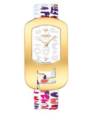 FENDI Chameleon Graffiti Goldtone Stainless Steel & Leather Strap Watch/Multicolor