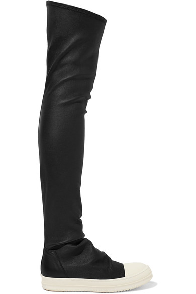 RICK OWENS Over The Knee Stretch Leather Sneakers, Black/White at NET-A-PORTER