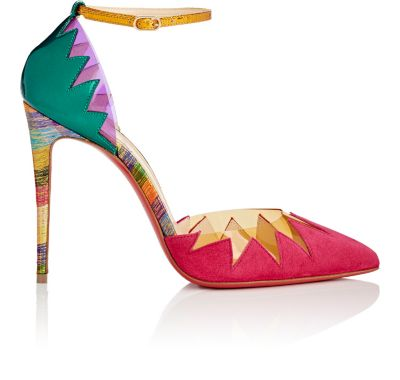 CHRISTIAN LOUBOUTIN Chapito Ho 100 Pvc-Trimmed Suede And Leather Pumps