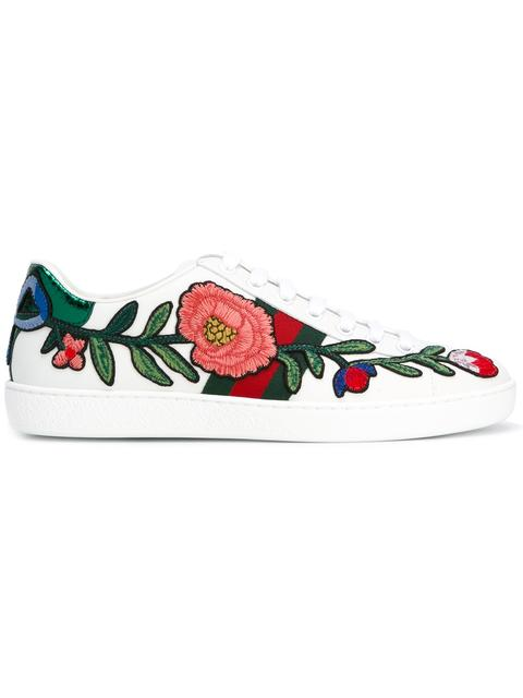 GUCCI New Ace Floral-Embroidered Low-Top Sneaker, White/Multi, Multi Colors at Farfetch