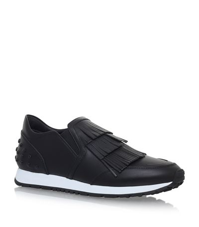 TOD'S 20Mm Fringed Leather Slip-On Sneakers, Black at Harrods