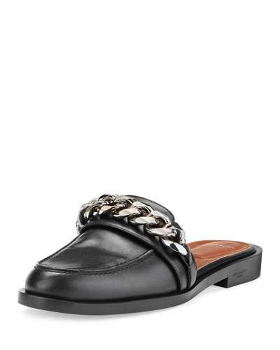 GIVENCHY Chain Croc-Embossed Leather Loafer Slides at BERGDORF GOODMAN