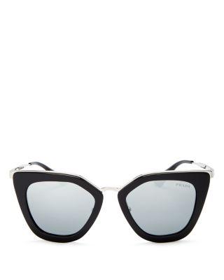 PRADA Mirrored Cat Eye Sunglasses, 52Mm in Black/Silver Mirror