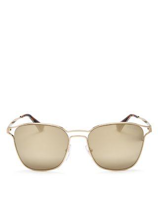 PRADA Mirrored Square Sunglasses, 56Mm in Pale Gold/Gold Mirror