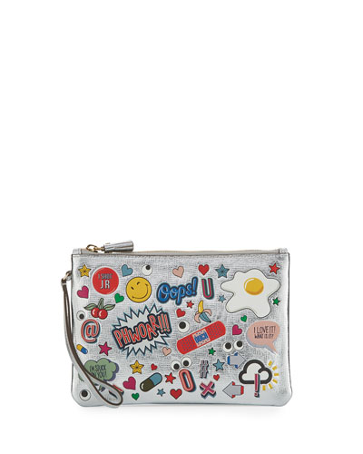 ANYA HINDMARCH Sticker-Print Metallic Leather Pouch, Silver at BERGDORF GOODMAN