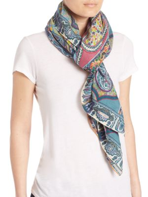 ETRO Floral Paisley Bombay Wool & Silk Scarf