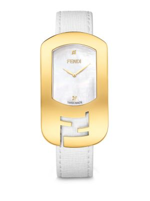 FENDI Chameleon Diamond, Goldtone Stainless Steel, Mother-Of-Pearl & Saffiano Leather Large Signature Stra